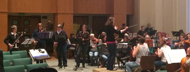 Rehearsal for Concerto for 4 Bassoons with Community Women's Orchestra