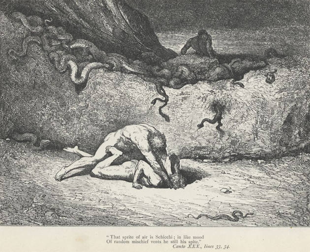 Illustration of Dante's Inferno featuring Gianni Schicchi