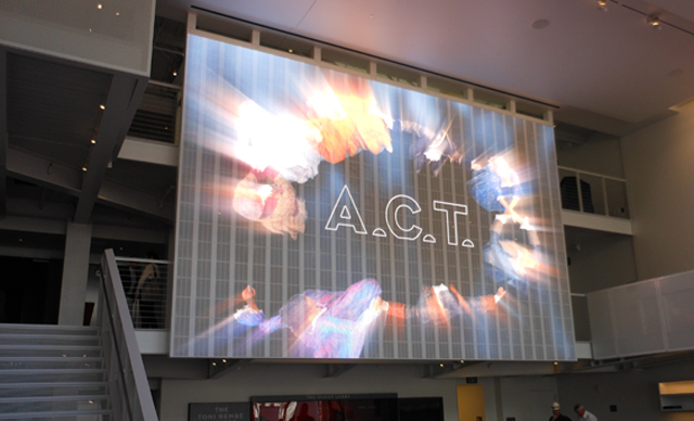 The LED screen in the lobby